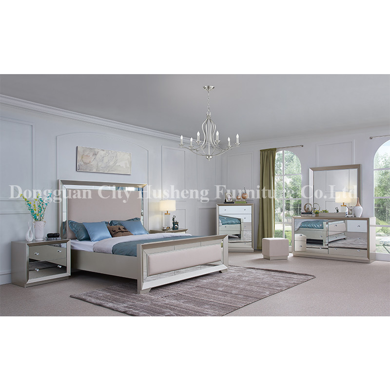 High Quality Mordern Fashion Style King Size Luxury Bed Grey Bedroom Furniture